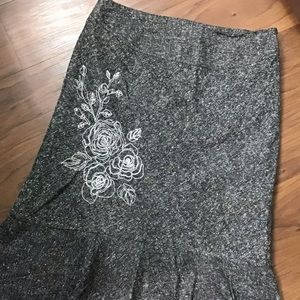 George   Gray Midi Skirt w/ Floral Embroidery